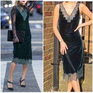 Zara Woman NWT Velvet Midi Dress with Lace